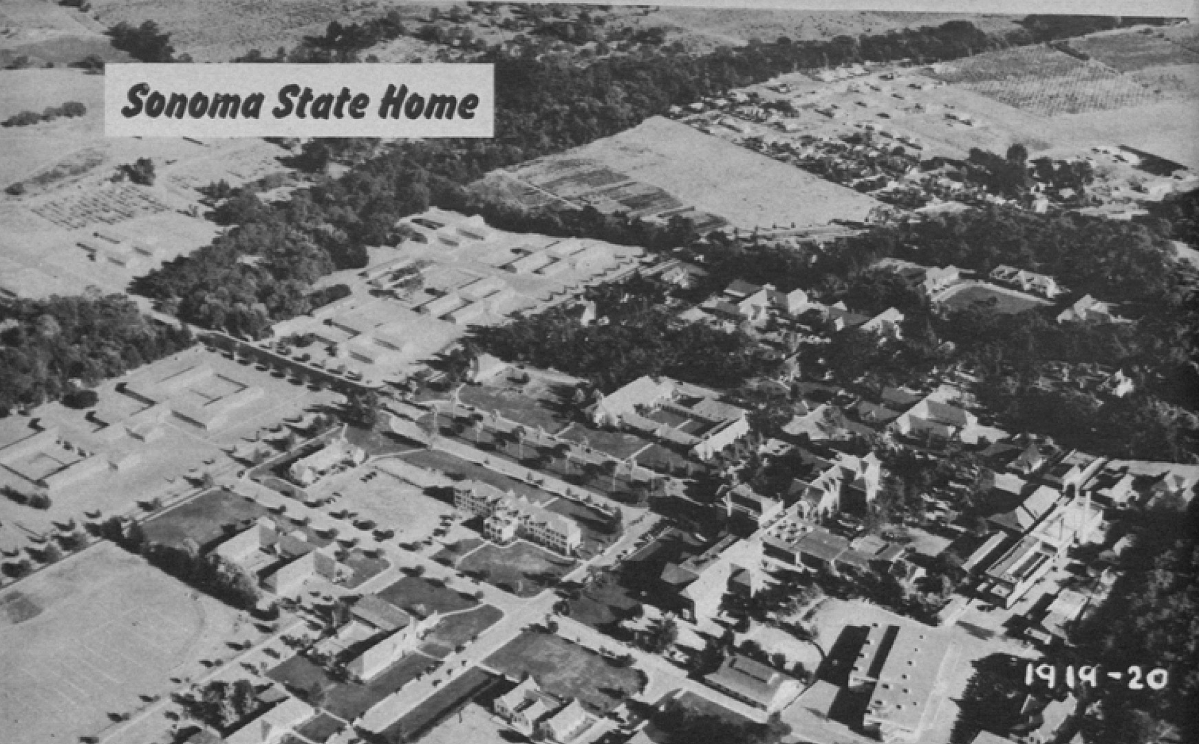The Sonoma State Home, located at Eldridge, California. Image published in the Biennial Report for 1950-1952 by State of California Department of Mental Hygiene and provided by Alex Wellerstein.