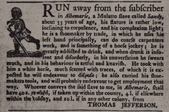 B. Bernetiae Reed, Library of Congress / Jefferson placed this ad about a runaway slave.