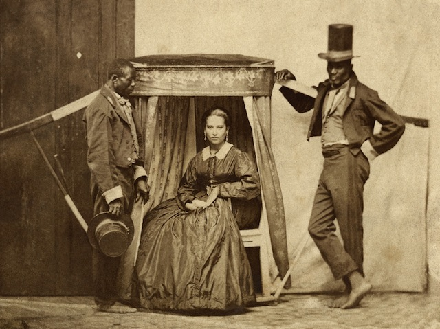 """""""Lady in the litter with two slaves, Bahia, Brazil, c. 1860."""""""