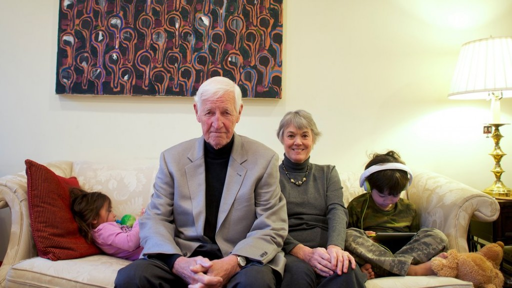 John and Bonnie Raines, two of the burglars, at home in Philadelphia with their grandchildren. / Mark Makela for The New York Times