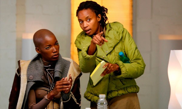 Wanuri Kahiu (R) on the set of Pumzi