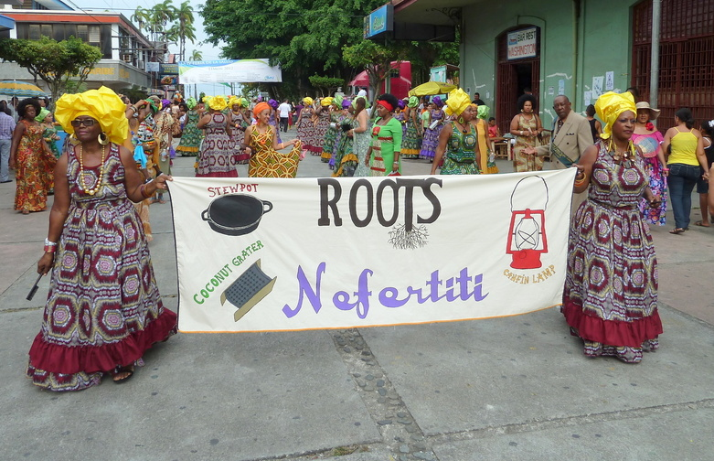 Afro-Costa Ricans wearing their traditional dress celebrating their African roots