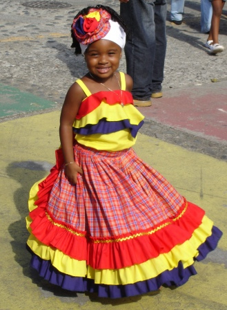 Beautiful Afro-Costa Rican girl in traditional dress  at 2007 Black Heritage Parade in Costa Rica