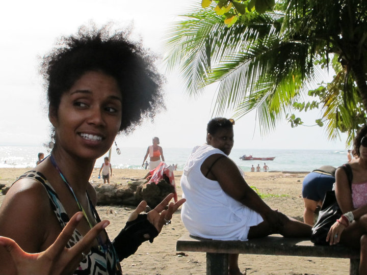 Afro-Costa Rican women having a good time at the beach