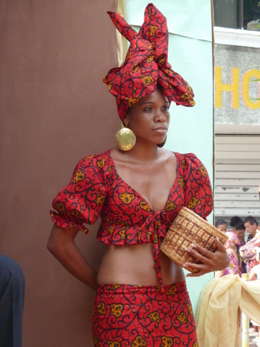 Afro-Costa Rican woman wearing her kaba style at Costa Rican African Heritage celebrations