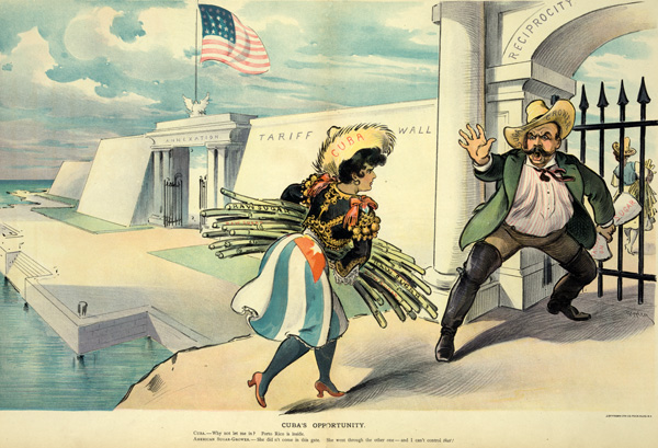 A 1902 political cartoon depicts an attempt by Cuban farmers to export sugar cane to the United States via a reciprocity agreement, rebuffed by tariff-wielding sugar growers. Though the gate to reciprocity is blocked, the doors to annexation swing open, and Puerto Rico, symbolized on the far right, has entered through them. / Udo J. Keppler, Library of Congress.
