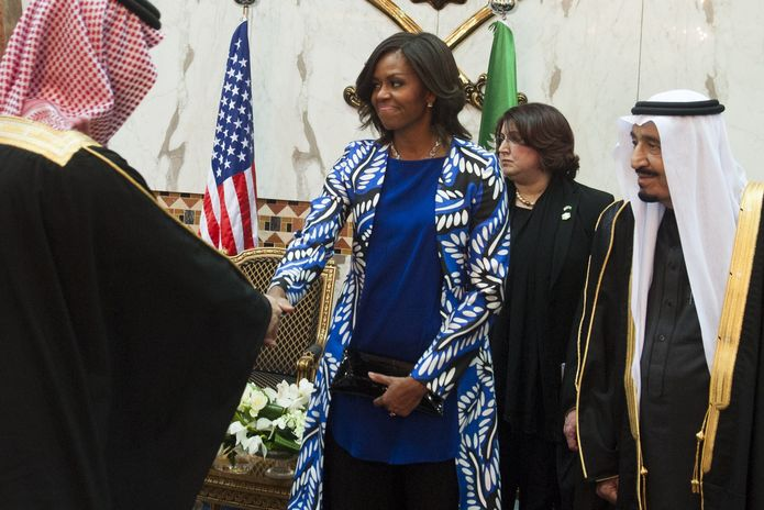 New Saudi King Salman, at right, with Michelle Obama at a ceremony in Saudi Arabia / SAUL LOEB/AFP/Getty