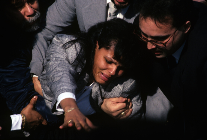 Lucy, the mother of Jose Luis Lebron, at her son's funeral. Lebron was shot in Bushwick, in January, 1990, by an N.Y.P.D. officer who thought that the fourteen-year-old had a gun.