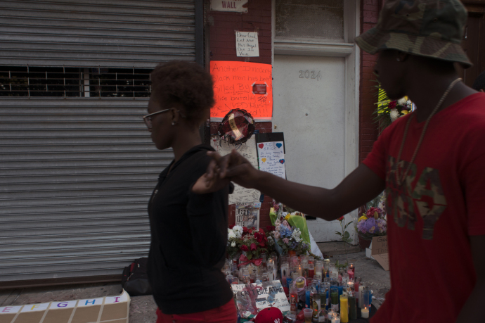 A memorial marking the site where Eric Garner died after being placed in a chokehold by an N.Y.P.D. officer in July, 2014.