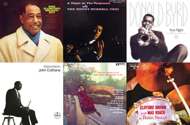"""Clockwise from top left, albums for which Chuck Stewart has provided the cover photography: Duke Ellington's Greatest Hits, A Night at The Vanguard with The Kenny Burrell Trio, Donald Byrd's """"First Flight,"""" Clifford Brown and Max Roach at Basin Street, Nina Simone's """"Jazz As Played In An Exclusive Side Street Club,"""" and John Coltrane's """"Ascension."""" COLUMBIA RECORDS; CADET RECORDS; DELMARK RECORDS; MERCURY RECORDS; BETHLEHEM RECORDS; IMPULSE! RECORDS"""