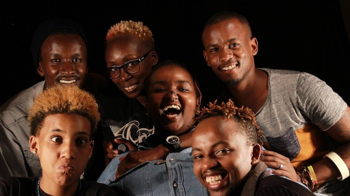 The None on Record team minus Thiam (Juelz Laval, Eddy Mokaya, Yvonne Odour, Jonah Voss) with two interviewees from the Growing Up LGBT in Africa series (Njeri Gateru & Solomon Wambua)