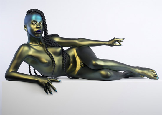 Frank Benson, Juliana, 2014-2025. 3D printed rapid prototype for bronze casting, polyurethane acrylic paint, Corian base. Edition of 4 + 1 A/P. Copyright of the artist, Andrew Kreps Gallery, New York and Sadie Coles HQ, London.