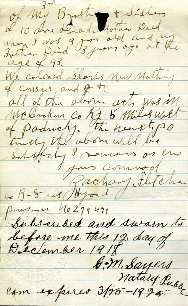 Page three of Zachary Fletcher's letter to the Pension Office. (Records of the Department of Veterans Affairs, RG 15)