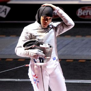 "Ibtihaj Muhammad Age: 29 Height: 5'7""  Weight: 145 pounds Current U.S. Ranking: No. 3 Current World Ranking: No. 15"