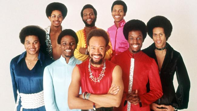 Associated Press - Earth, Wind & Fire in a 1970s promotional photo. Front low, from left: Al McKay, Philip Bailey, Maurice White, Verdine White and Larry Dunn. Back row: Ralph Johnson, Andrew Woolfolk and Johnny Graham.