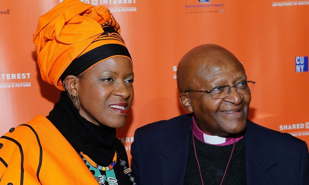 Mpho Tutu with her father in New York in 2014. Photograph: John Lamparski/WireImage