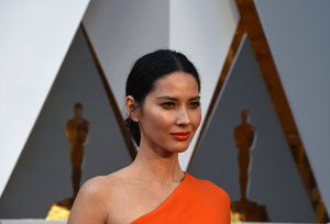 Actress Olivia Munn arrives on the red carpet for the Oscars on Feb. 28. Munn has spoken about being connected to multiple parts of East Asia. Valerie Macon/AFP/Getty Images