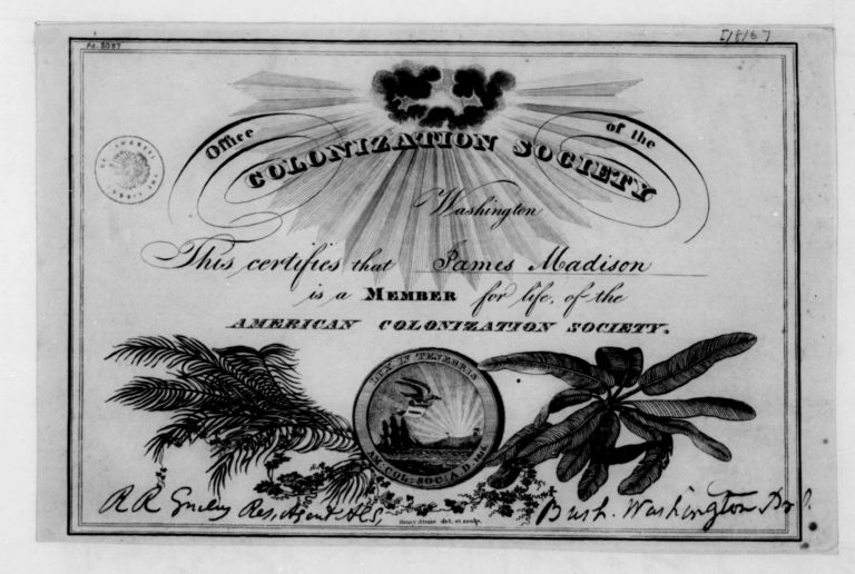James Madison ACS membership certificate (Library of Congress)
