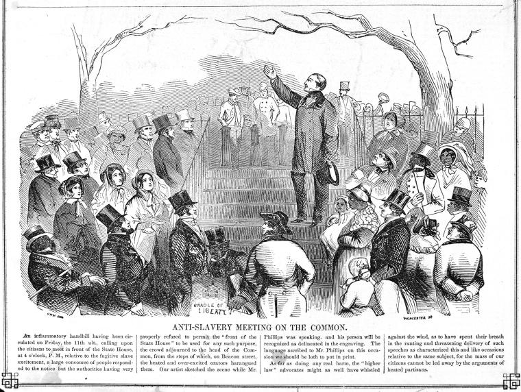 """Anti-Slavery Meeting on the [Boston] Common"" (Schomburg Center for Research in Black Culture, Photographs and Prints Division)"