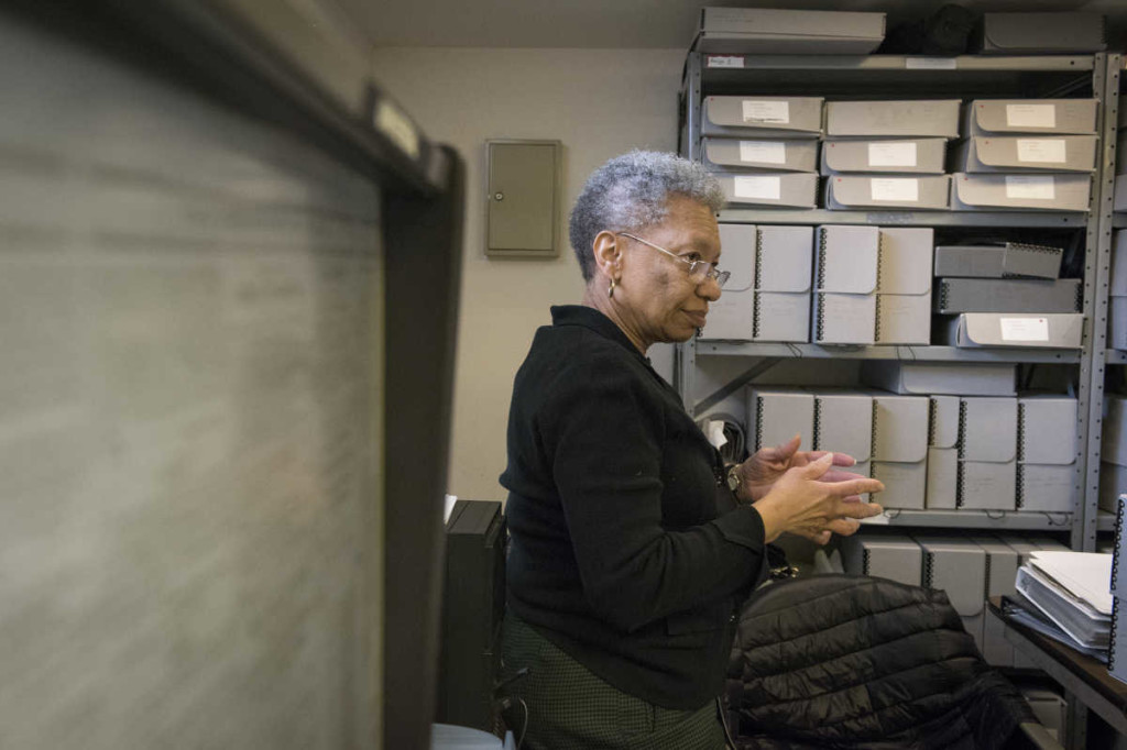 Archivist Margaret Jerrido has transcribed hundreds of ads placed by former slaves searching for their relatives from historical copies of The Christian Recorder in the late 1800s. / BRIANNA SPAUSE / STAFF PHOTOGRAPHER