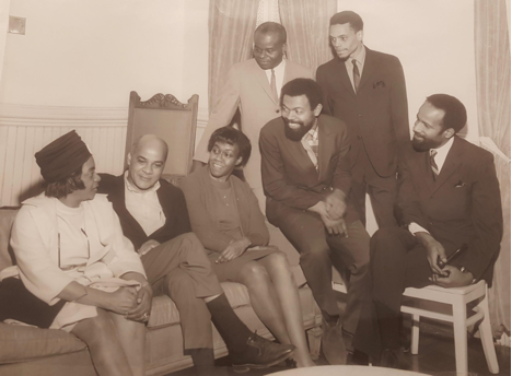 L to R: Margaret Danner, John O. Killens, Gwendolyn Brooks, John Henrik Clarke, Leroi Jones/Amiri Baraka, Ron Milner, and Bennett at Second Annual Fisk Writer's Conference, 1967. (Source: Emory University, Stuart A. Rose Manuscript, Archives, and Rare Book Library)