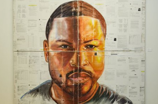 Colorlines Screenshot of a self-portrait by Russell Craig, a formerly incarcerated artist and inaugural Right of Return USA fellowship recipient, taken from Twitter on March 24, 2017.