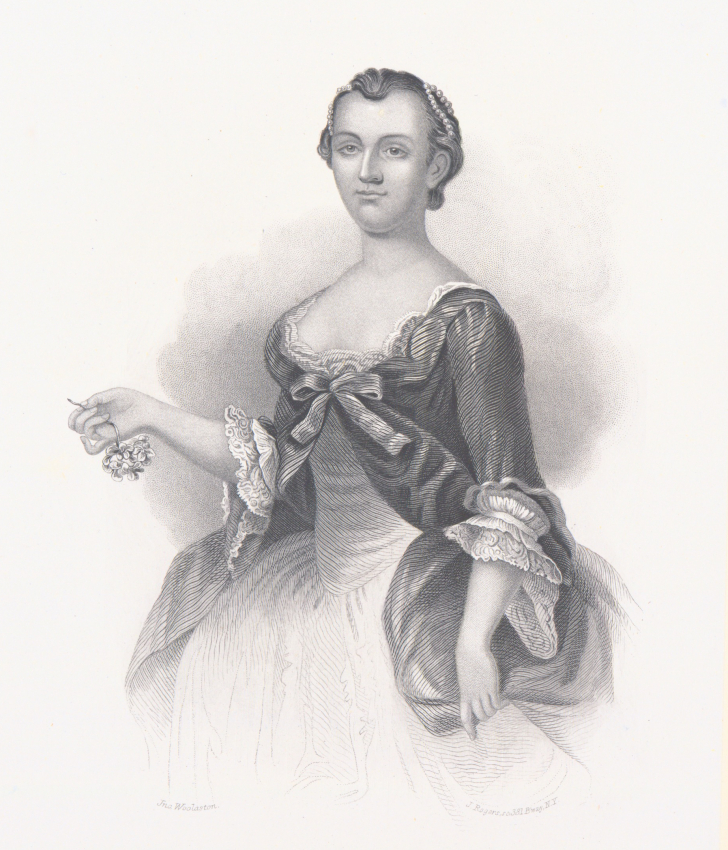 Martha Dandridge Custis, a widow with two children, married George Washington on January 26, 1759, when she was 27 and he was 26. Martha's dowry included more than 80 slaves. (NYPL Digital Collections)