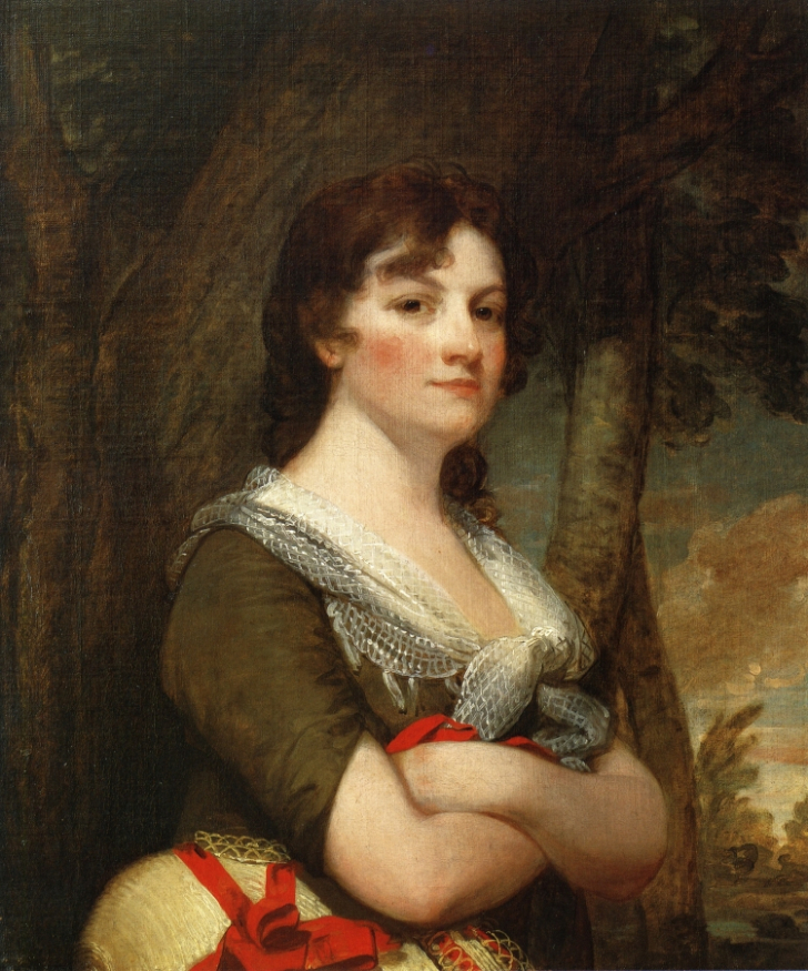 Portrait of Elizabeth Parke Custis Law by Gilbert Stuart, c. 1796. Martha Washington's granddaughter Elizabeth married Thomas Law when she was 19 and he was 39. They separated in 1804 and divorced in 1811.