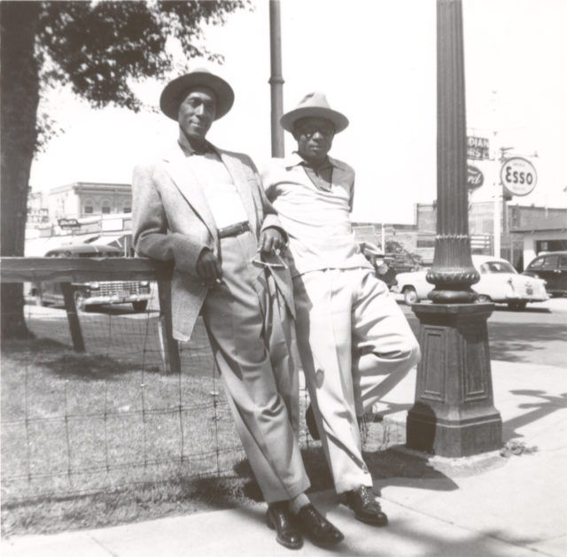 Barney Brown and Jimmy Valentine, both Negro League imports on the Brandon Greys of the ManDak League, in downtown Brandon, Manitoba. (Jay-Dell Mah Collection, courtesy of Lois Bentley)