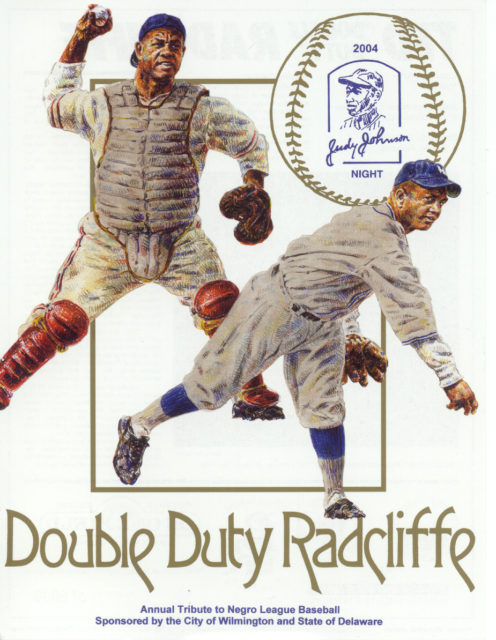 "A baseball card distributed during the Judy Johnson night celebration, an annual tribute to Negro League players, held in Wilmington, Delaware. Ted ""Double Duty"" Radcliffe was the honoree in 2004. (Illustration by Michael D. Mellett, courtesy of Bill Guenthner)"