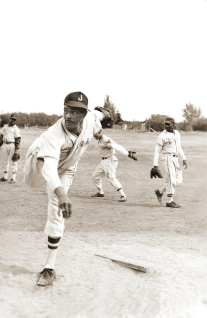 "Edward ""Peanuts Nyasses"" Davis, pitcher for the Indian Head Rockets, an all black team, in 1951. (Jay-Dell Mah Collection, courtesy of Ken McCabe.)"
