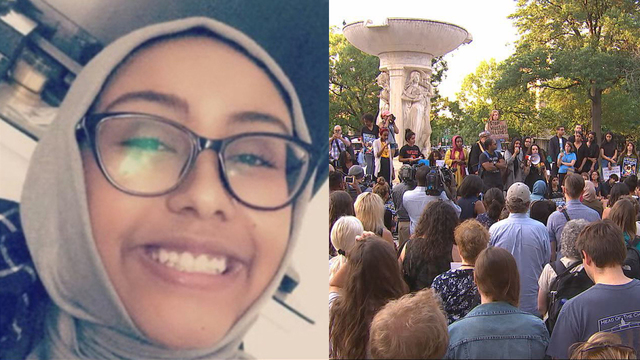 A group gathered in Dupont Circle to remember 17-year-old Nabra Hassanen on Tuesday, June 20, 2017.