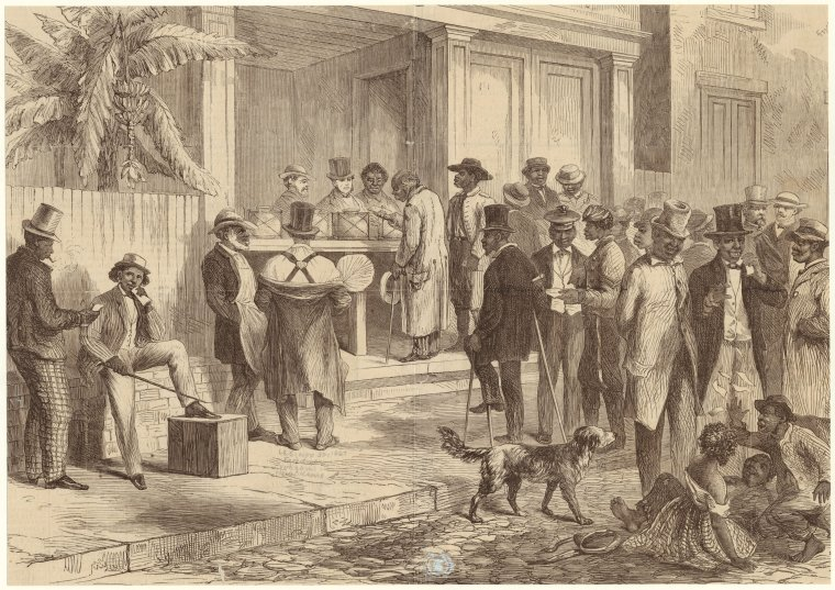 Electioneering in the South, 1868 (New York Public Library)