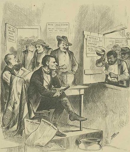 Ending Reconstruction, southern conservatives drove African Americans out of the electorate through intimidation, fraud, and violence. Image from Harpers Weekly, 10/31/1874.